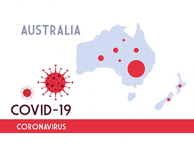 Kaart van australië met de voortplanting van de covid 19