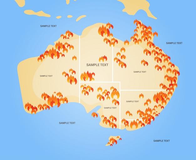 Kaart van australië met symbolen van bosbranden seizoensgebonden bosbranden droog hout brandend broeikaseffect natuurramp concept plat