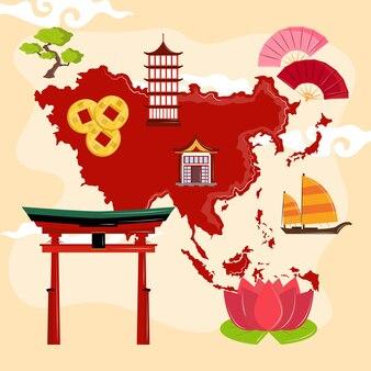 Kaart van azië en culturele iconen