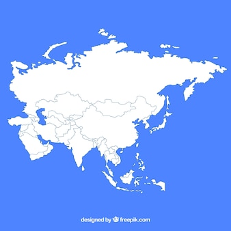 Kaart van azië in vlakke stijl