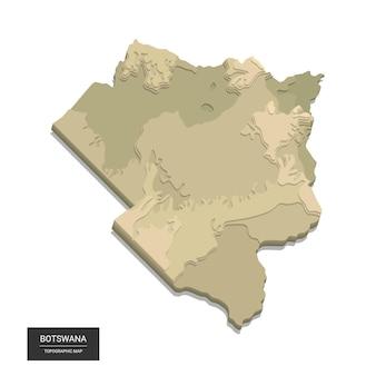 Kaart van botswana - digitale topografische kaart op grote hoogte. illustratie. gekleurd reliëf, ruig terrein. cartografie en topologie.