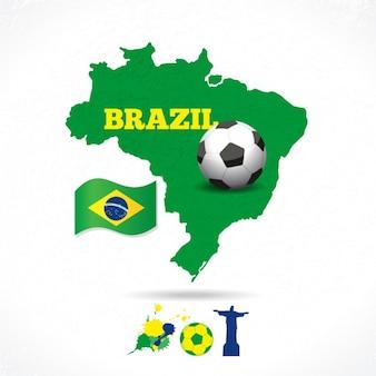 Kaart van brazilië met zijn vlag en een voetbal