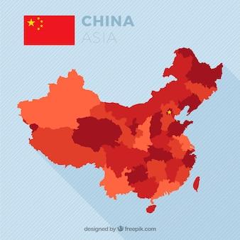 Kaart van china in tonen van rood