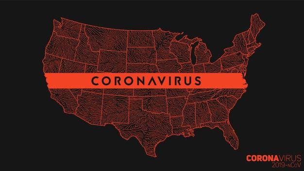 Kaart van coronavirus verspreid in de verenigde staten