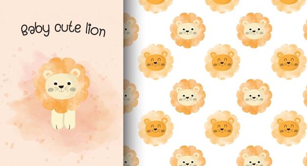Kaart van de baby de leuke leeuw en patroonachtergrond.