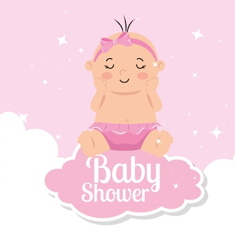 Kaart van de baby douche met baby meisje en decoratie