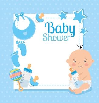 Kaart van de baby douche met babyjongen en decoratie