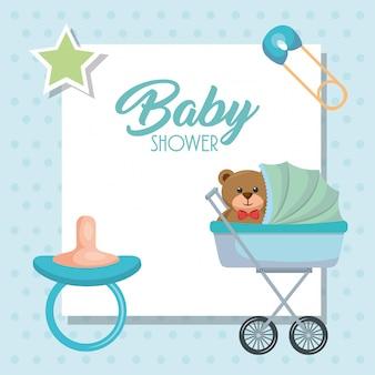 Kaart van de baby douche met beer teddy in winkelwagen