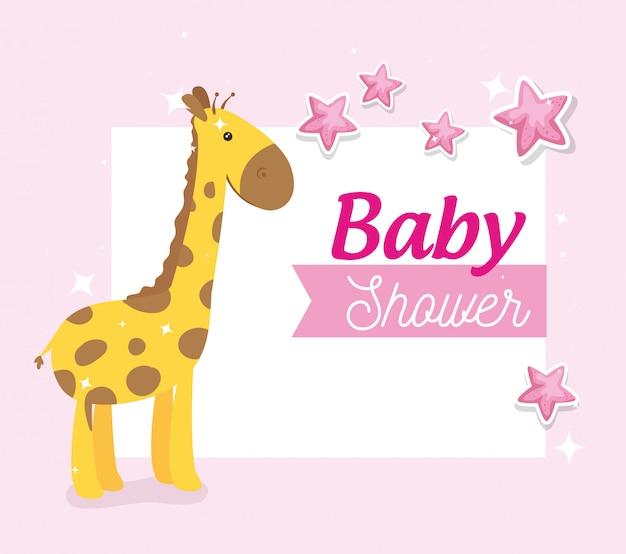 Kaart van de baby douche met giraf en sterren decoratie