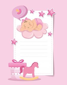 Kaart van de baby douche met klein meisje en decoratie