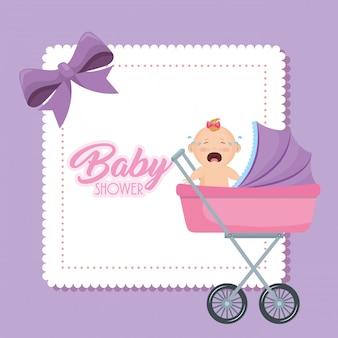 Kaart van de baby douche met klein meisje