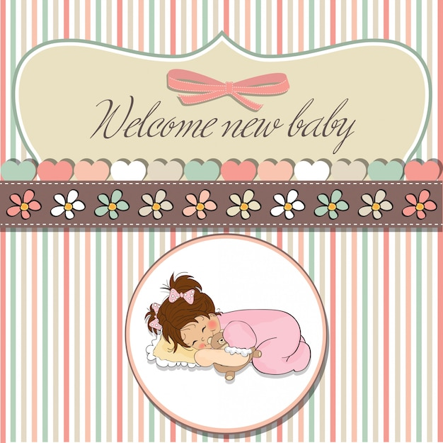Kaart van de baby douche met kleine baby meisje spelen