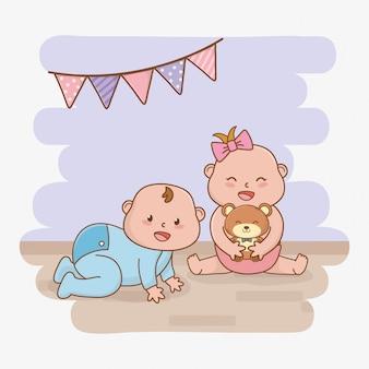 Kaart van de baby douche met kleine baby's
