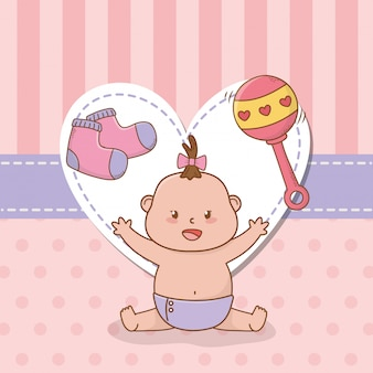 Kaart van de baby douche met kleine baby