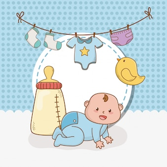 Kaart van de baby douche met kleine jongen baby