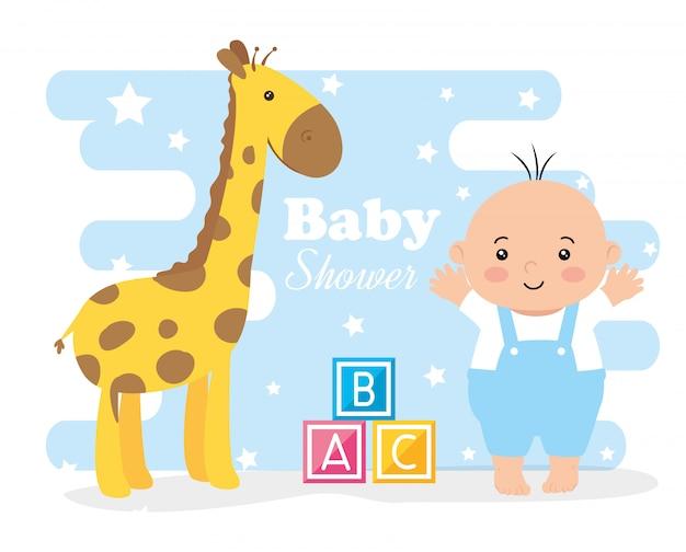 Kaart van de baby douche met kleine jongen en decoratie