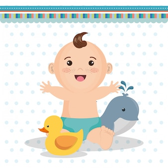 Kaart van de baby douche met kleine jongen