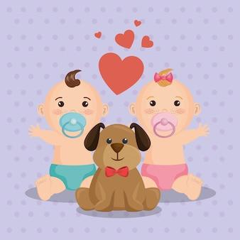 Kaart van de baby douche met kleine kinderen
