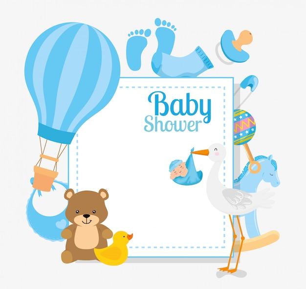Kaart van de baby douche met ooievaar en decoratie