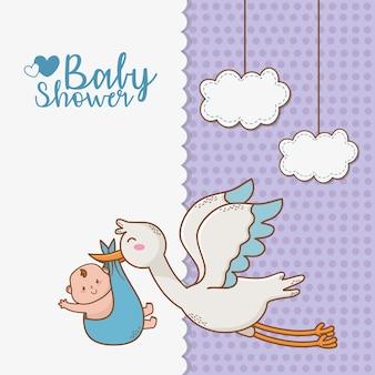 Kaart van de baby douche met ooievaar