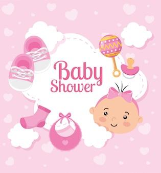 Kaart van de baby douche met schattig klein meisje en decoratie