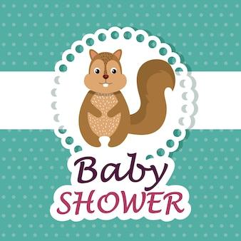 Kaart van de baby douche met schattige aardeekhoorn