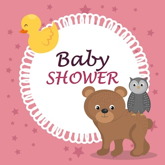 Kaart van de baby douche met schattige beer en uil