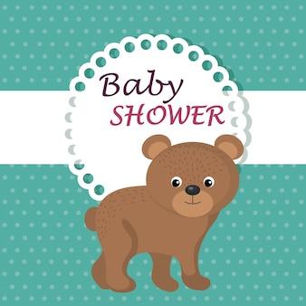 Kaart van de baby douche met schattige beer