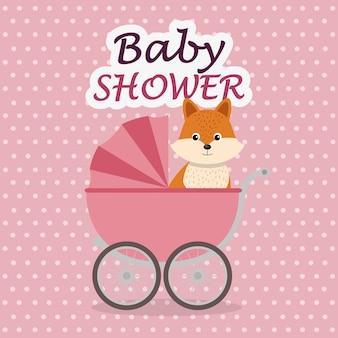 Kaart van de baby douche met schattige fox in winkelwagen