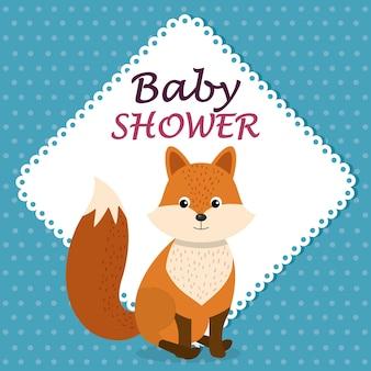 Kaart van de baby douche met schattige fox