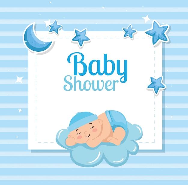 Kaart van de baby douche met schattige kleine jongen en decoratie