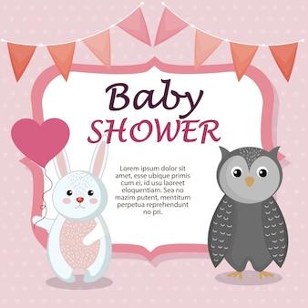 Kaart van de baby douche met schattige konijn en uil