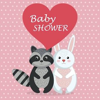 Kaart van de baby douche met schattige konijn en wasbeer