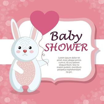 Kaart van de baby douche met schattige konijn