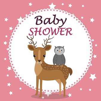 Kaart van de baby douche met schattige rendieren en uil