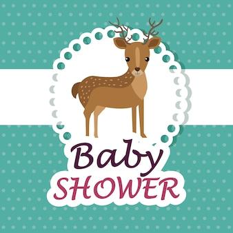 Kaart van de baby douche met schattige rendieren