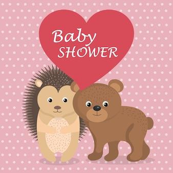 Kaart van de baby douche met schattige stekelvarken en beer