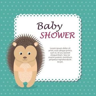 Kaart van de baby douche met schattige stekelvarken