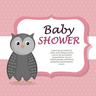 Kaart van de baby douche met schattige uil