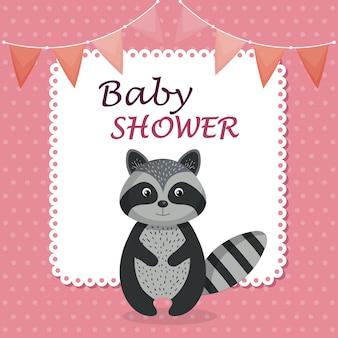 Kaart van de baby douche met schattige wasbeer