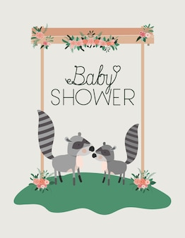 Kaart van de baby douche met schattige wasberen paar