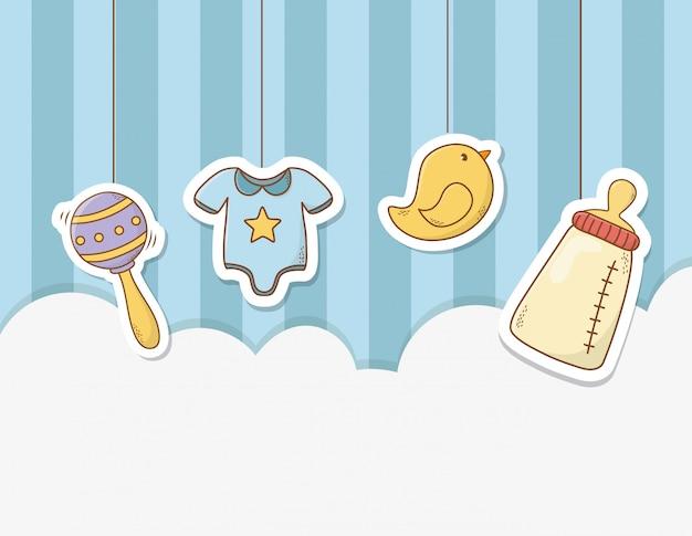 Kaart van de baby douche met set items