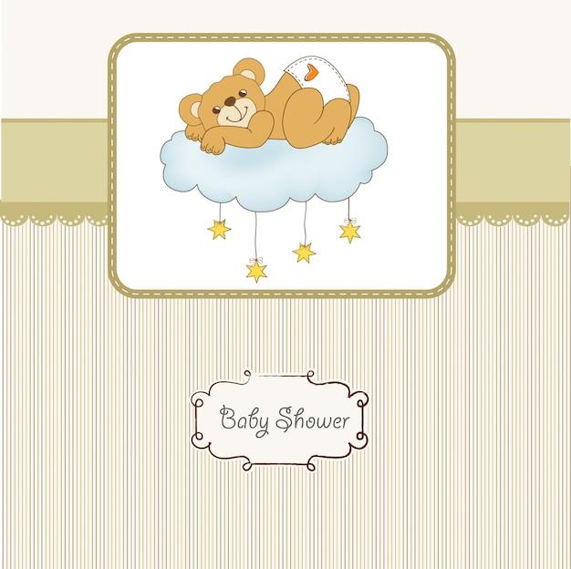 Kaart van de baby douche met slaperige teddybeer