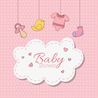 Kaart van de babydouche met accessoires opknoping