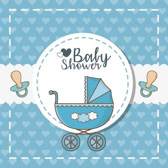 Kaart van de babydouche met blauwe kar