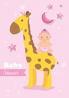 Kaart van de babydouche met giraf en decoratie