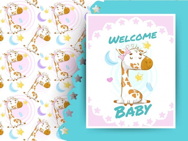 Kaart van de babydouche met giraf en patroon