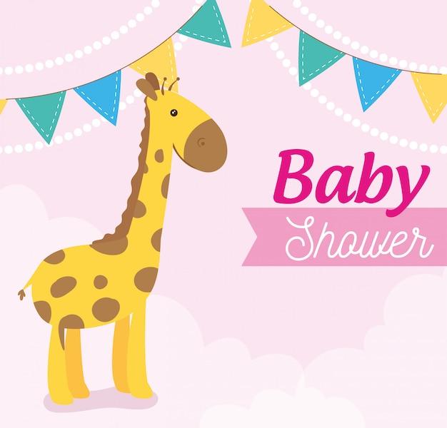Kaart van de babydouche met giraf en slingers opknoping