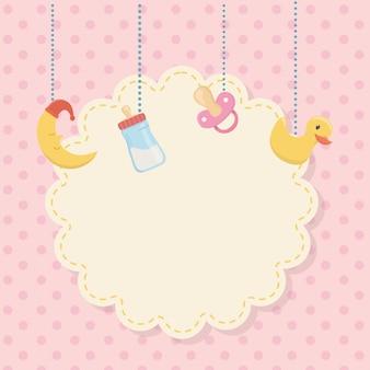 Kaart van de babydouche met hangende toebehoren