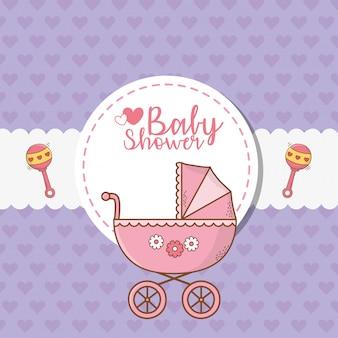 Kaart van de babydouche met roze kar